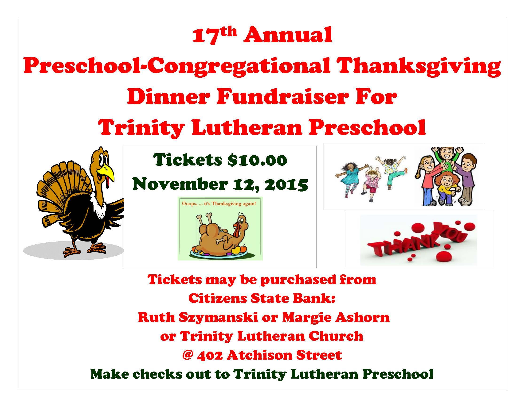 17th Annual Preschool Congregational Thanksgiving Dinner Fundraiser For Trinity Lutheran