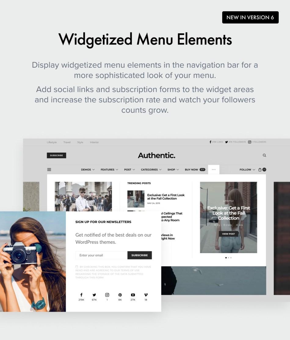Widgetized Menu Elements