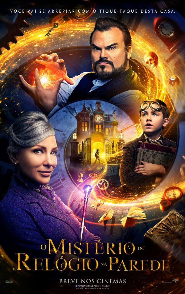 HCW_INTL_FINAL_DGTL_1_SHT_BRA-645x1024 O Mistério do Relógio na Parede   Jack Black e Cate Blanchett estrelam aventura fantástica; assista ao novo trailer!