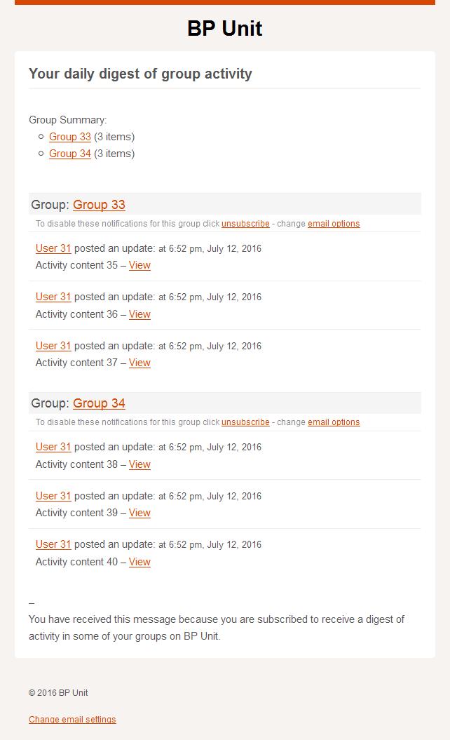 Screenshot of BP HTML email