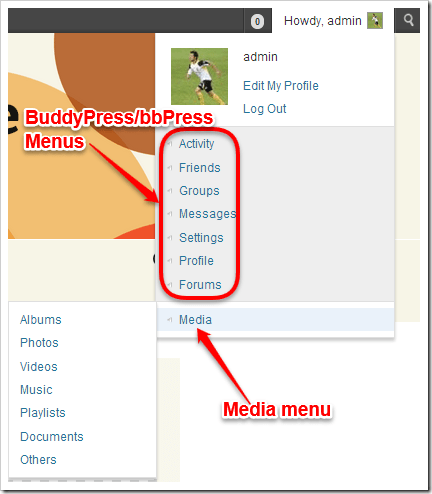 Media menu with BuddyPress on site