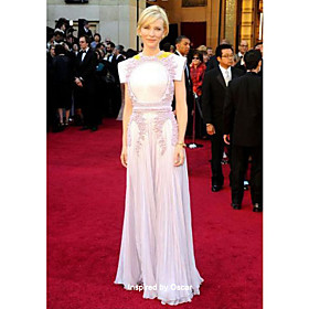 wholesale Cate Blanchett Sheath/ Column Jewel Floor-length Chiffon Lace Oscar/ Evening Dress (FSM1104210)