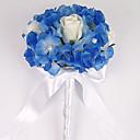 rond de couleur blanche et bleue en soie (6 roses) Bouquet mariage / bouquet de mariée en satin avec une décoration (b007bsr)