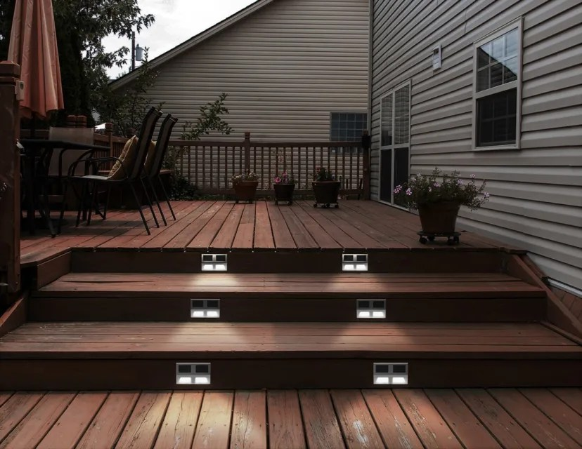 solar stainless steel patio step lights set of 2