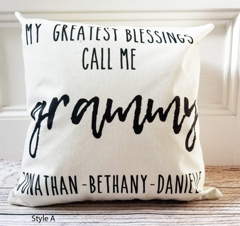 personalized grammy mimi grandma pillows