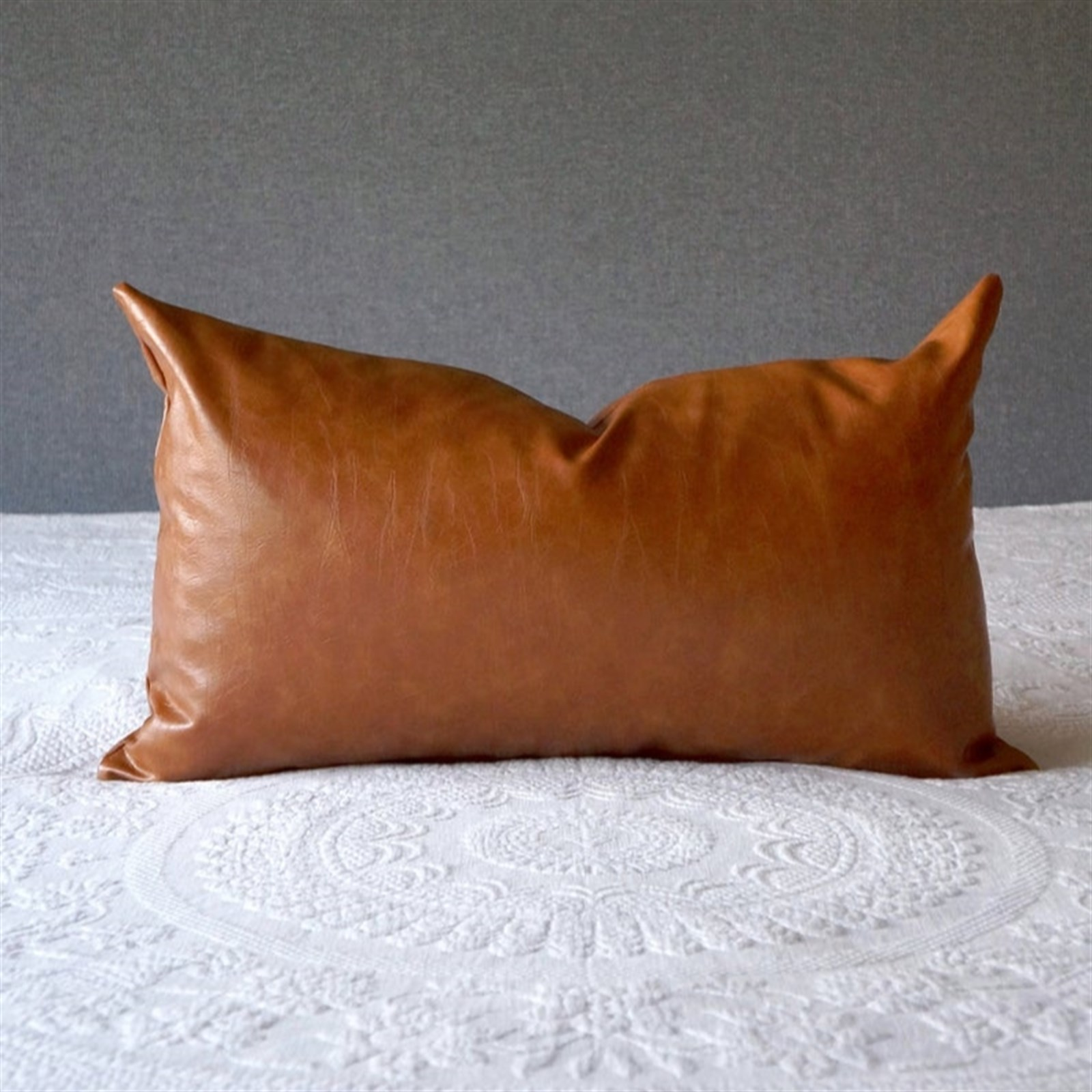 faux leather lumbar pillow covers