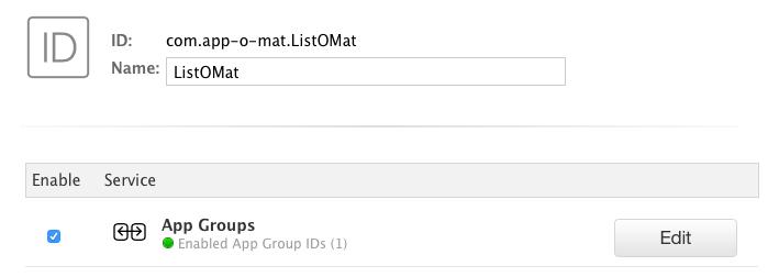 A screenshot of Apple developer website enabling app groups for an app ID