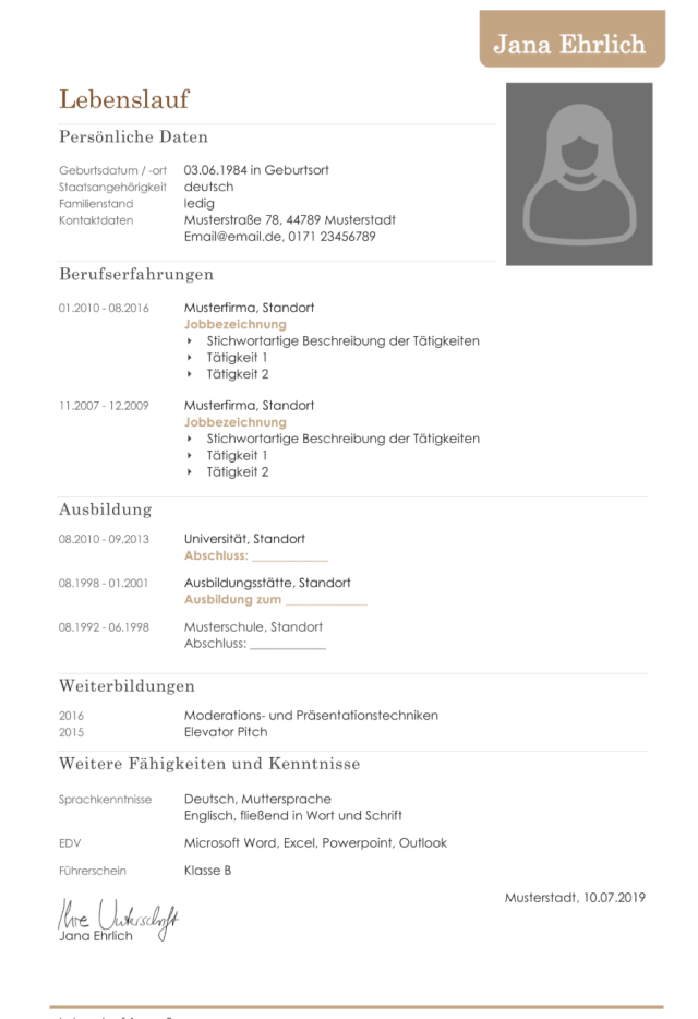 A Standard CV for Your Application