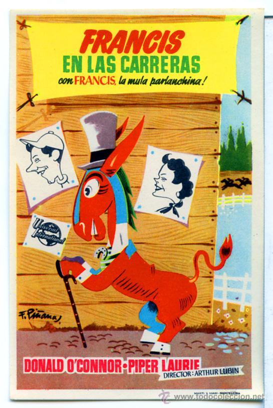 Cine: FRANCIS EN LA CARRERA 1951 (FOLLETO DE MANO ORIGINAL) DONALD O´CONNOR - PIPER LAURIE - Foto 1 - 56322908