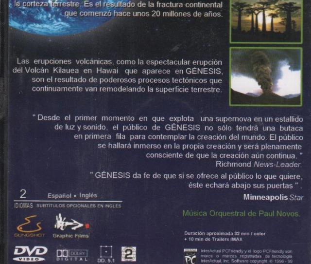 Cine Genesis Una Creacion De Cuatro Mil Millones De Anos Dvd Jrb De