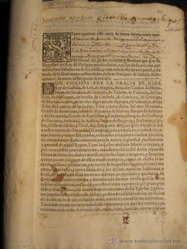 VENTA DE BIENES CONFISCADOS A LOS MORISCOS DE GRANADA. REAL CEDULA DE FELIPE II.TITULO DE VENTA (Coleccionismo - Documentos - Manuscritos)