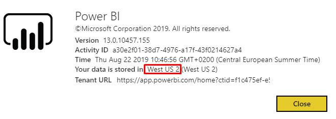 Power BI region