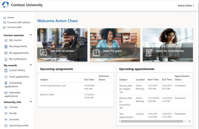 Screenshot of student portal in education accelerator for Dynamics 365