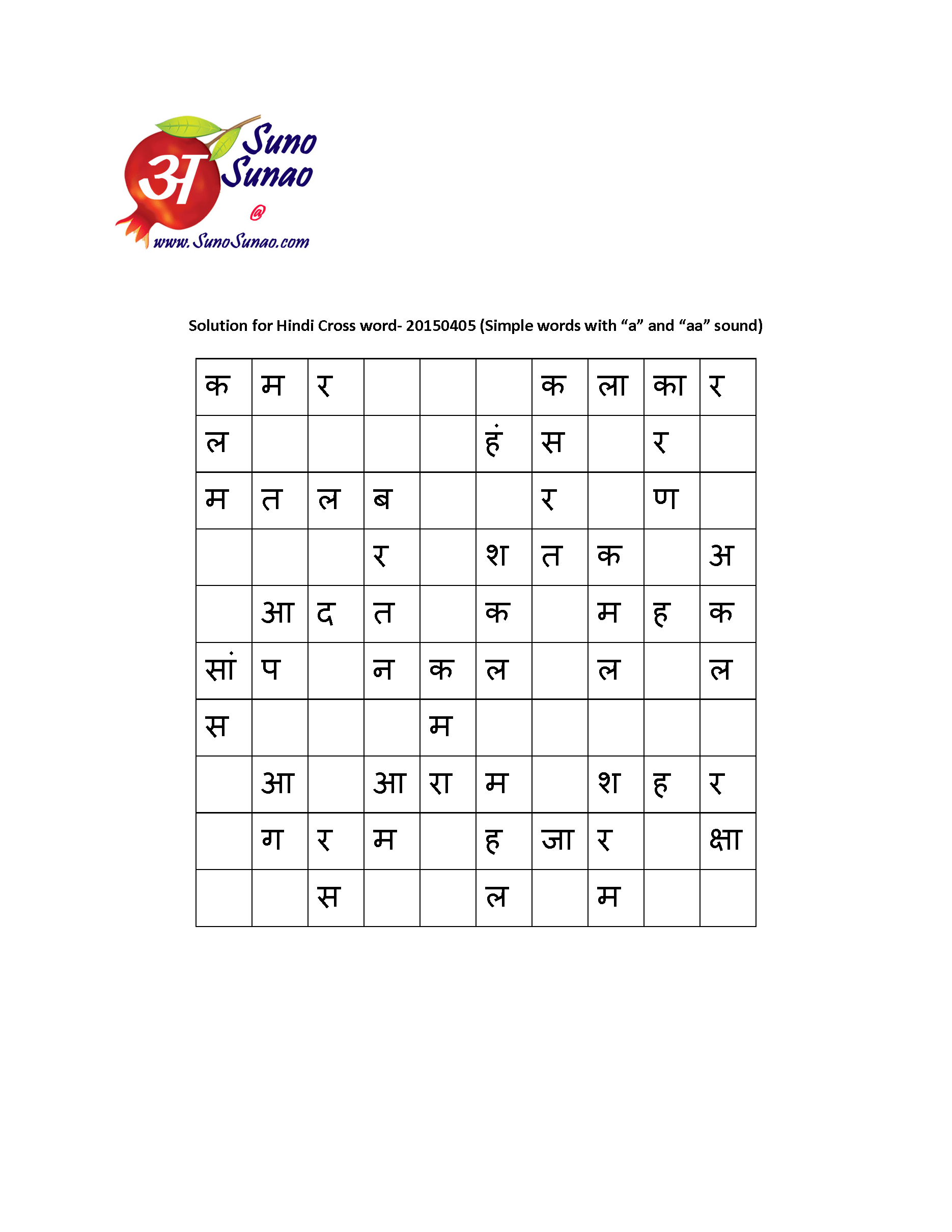 Class 1 Hindi Letters Worksheets