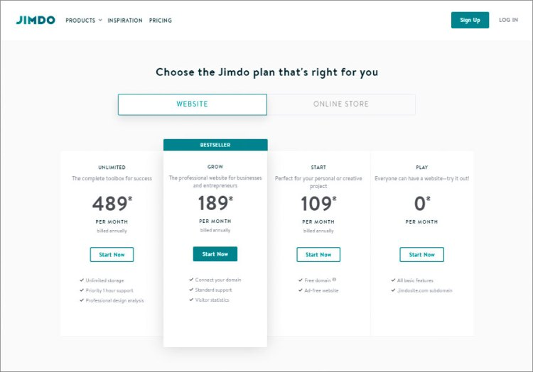 choose website plan