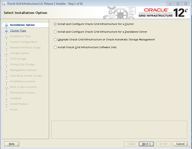 Oracle Database 12c Release 1 (12 1) RAC GRID Infrastructure
