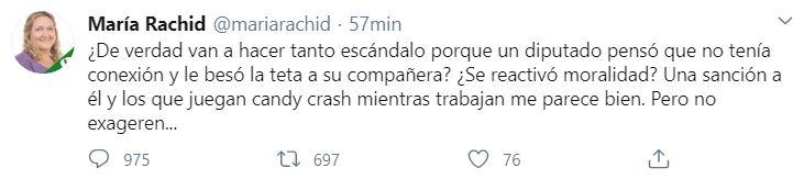 Desde su cuenta de Twitter, María Rachid, la titular del Instituto contra la Discriminación de la Defensoría del Pueblo de la ciudad de Buenos Aires, defendió a Ameri