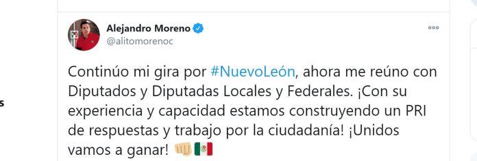 Alejandro Moreno promovió su gira de trabajo por Nuevo León al mismo tiempo que Gustavo de Hoyos promovió a Sí por México (Foto: Twitter / @alitomorenoc)
