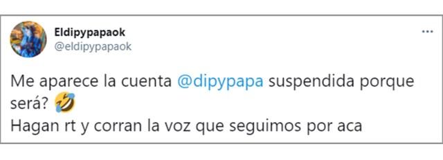 Los primeros posteos de El Dipy en su otra cuenta de Twitter, @eldipypapaok