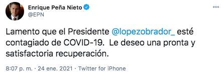 El expresidente Peña Nieto acudió a redes sociales para desear pronta recuperación a AMLO (Foto: Twitter)