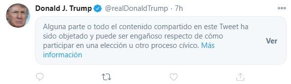 """Mensaje marcado como """"engañoso"""" por Twitter"""