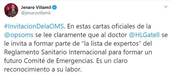 Jenaro Villamil, vocero de la presidencia, publicó la carta de la OPS dirigida a López-Gatell (Foto: Twitter)