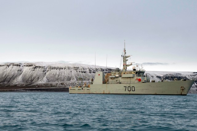 Canada's HMCS Kingston sails in Lancaster Sound, close to Gascoyne Inlet during Operation Nanook on August 29, 2019. During Operation Nanook, the Canadian Armed Forces practice guarding the country's sovereignty over its northernmost regions and improving the way it operates in Arctic conditions. (Cpl. Simon Arcand/Canadian Armed Forces)