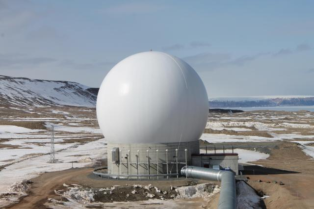 Detachment 1, 23rd Space Operations Squadron gained operational acceptance of the seventh and final Remote Block Change antenna at Thule Air Base, Greenland, on July, 26, 2016. The antenna, designated as POGO-Charlie, represented some of the latest telemetry, tracking and command technologies in the U.S. Air Force. (U.S. Air Force)