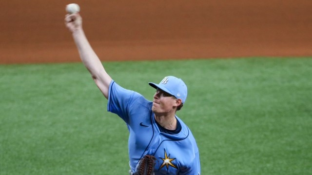 Tampa Bay Rays relief pitcher Peter Fairbanks delivers a pitch during practice Thursday at Tropicana Field. [CHRIS URSO  |  Times]