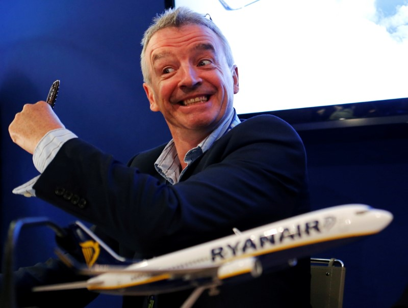 Ryanair Chief Executive Michael O'Leary gestures during a signing ceremony at the 50th Paris Air Show, at the Le Bourget airport near Paris, June 19, 2013. REUTERS/Pascal Rossignol/File Photo
