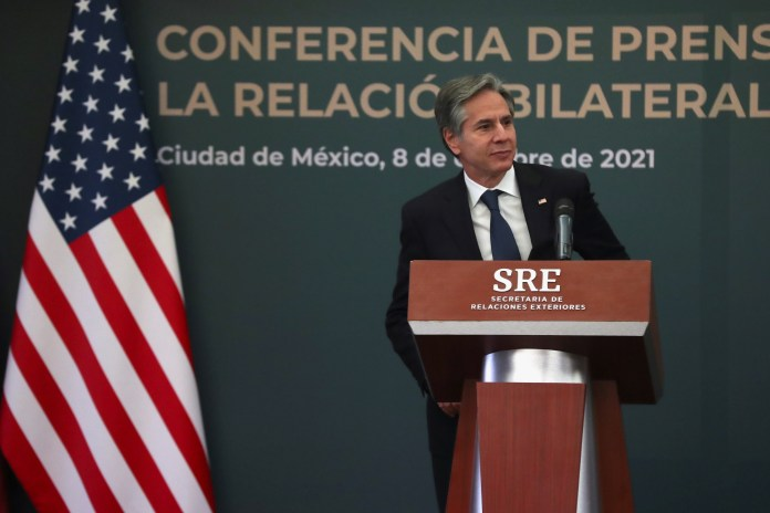 U.S. Secretary of State Antony Blinken addresses media following U.S.-Mexico High Level Security Dialogue in Mexico City, in Mexico October 8, 2021. REUTERS/Edgard Garrido