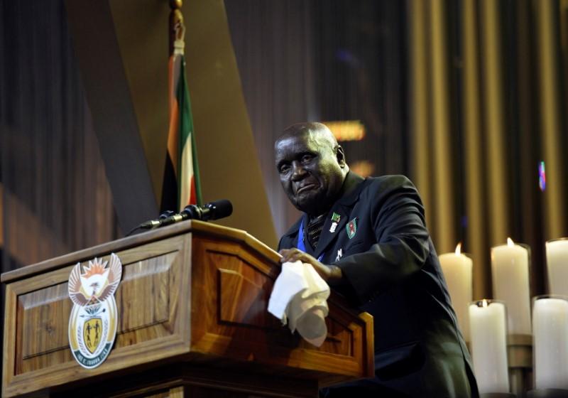 Former President of Zambia Kenneth Kaunda speaks during the funeral ceremony for former South African President Nelson Mandela in Qunu December 15, 2013.   REUTERS/Odd Andersen/Pool/File Photo