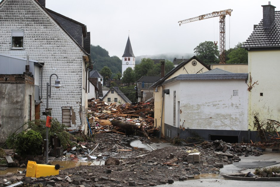 Collapsed buildings are seen on a flood-affected area following heavy rainfalls in Schuld, Germany, on July 15, 2021. REUTERS/Wolfgang Rattay