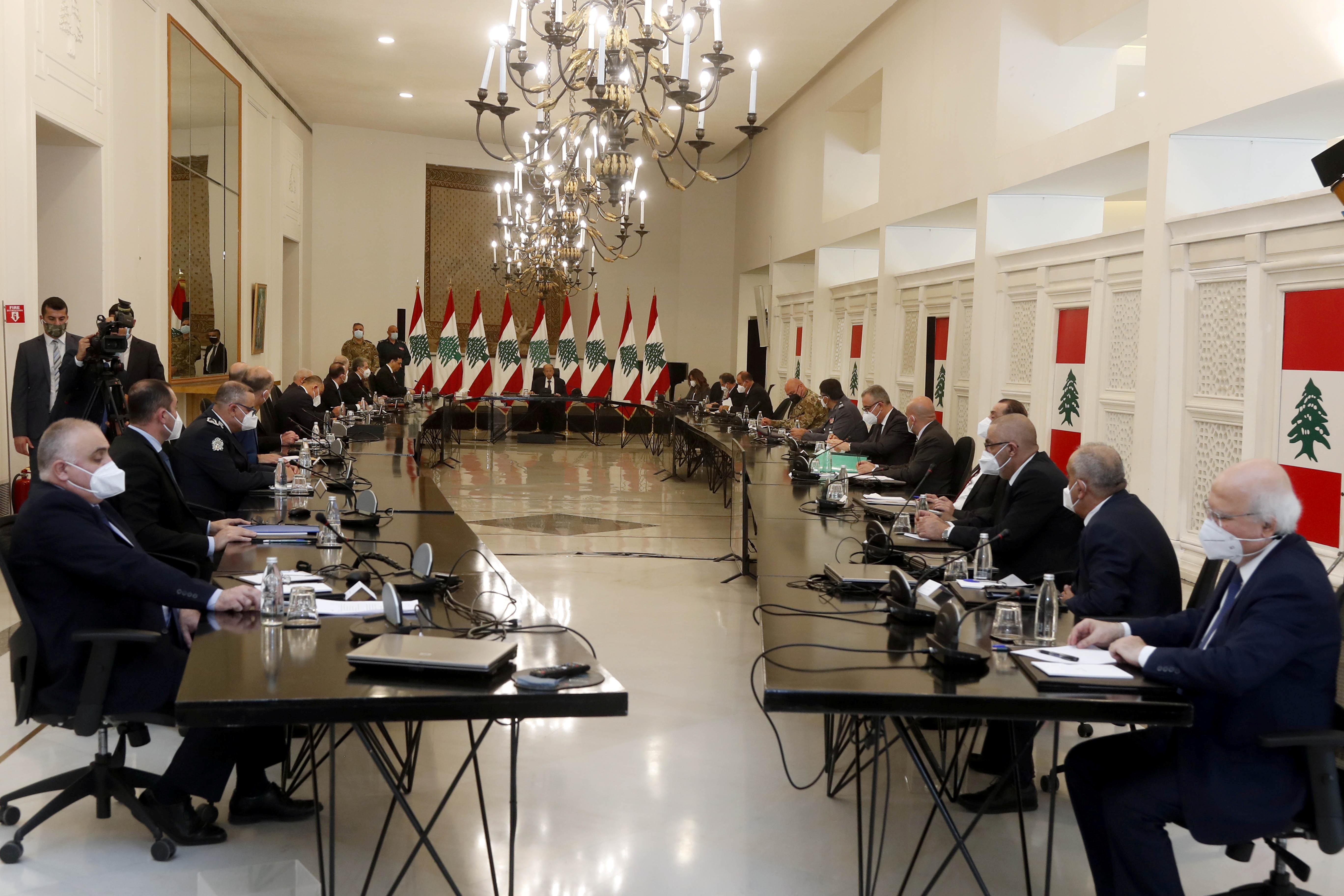 Lebanon's President Michel Aoun heads a meeting with Lebanese officials at the presidential palace in Baabda, Lebanon April 26, 2021. Dalati Nohra/Handout via REUTERS