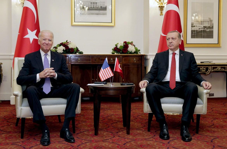 U.S. Vice President Joe Biden (L) attends a bilateral meeting with Turkish President Tayyip Erdogan in Washington March 31, 2016. REUTERS/Joshua Roberts