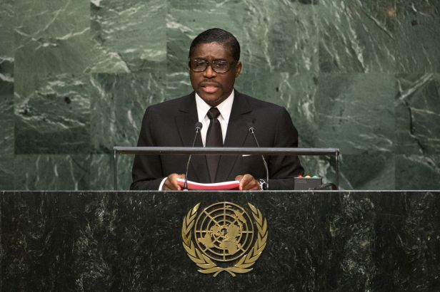 Equatorial Guinea's Second Vice-President Teodoro Nguema Obiang Mangue addresses attendees during the 70th session of the United Nations General Assembly at the U.N. Headquarters in New York, September 30, 2015.  REUTERS/Eduardo Munoz/File Photo