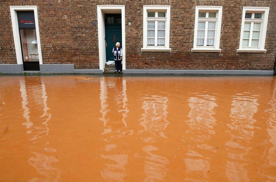 A street is flooded following heavy rainfalls in Erftstadt, Germany, July 16, 2021. REUTERS/Thilo Schmuelgen