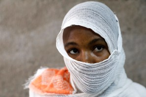 An Ethiopian woman who says she was gang-raped by armed men is seen during an interview with Reuters in a hospital in the town of Adigrat, Tigray region, Ethiopia, March 18, 2021. REUTERS/Baz Ratner