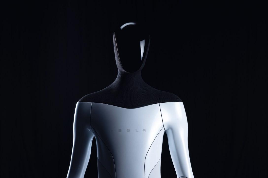 """A """"Tesla Bot"""" humanoid robot prototype.  Image courtesy of Tesla"""