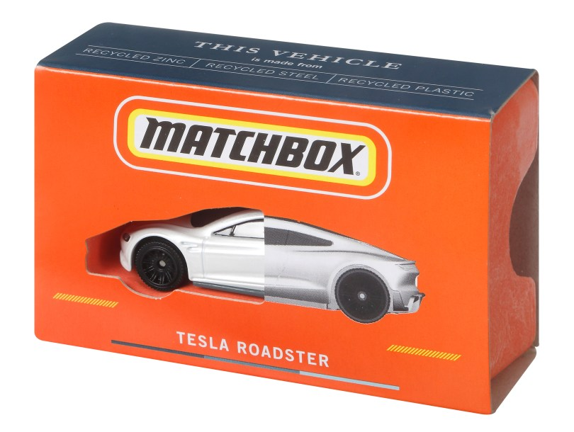 A Matchbox's Tesla Roadster die-cast toy made from recyclable materials is pictured in this undated photo obtained by Reuters on April 14, 2021. Mattel/Handout via REUTERS
