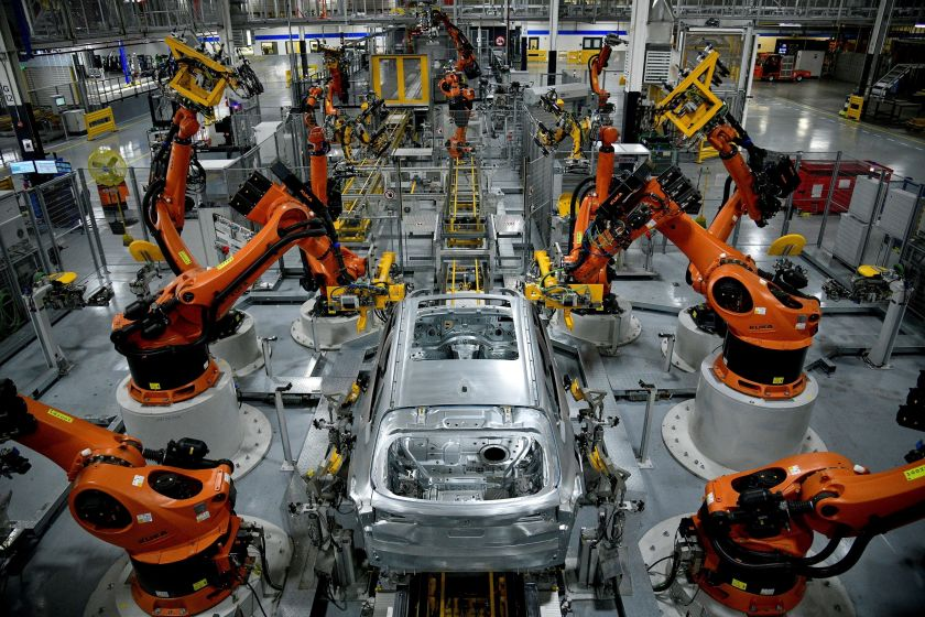 Autonomous robots assemble an X-model SUV at BMW's factory in Greer, South Carolina, US Nov. 4, 2019. REUTERS/Charles Mostoller