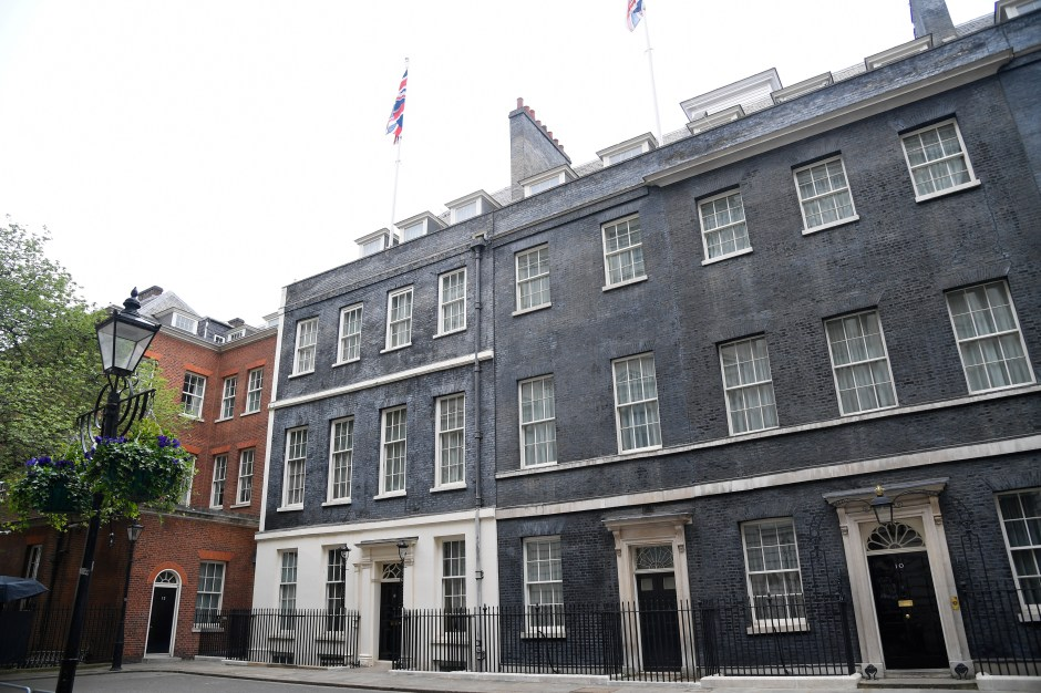 A general view shows number 10, 11 and 12 Downing Street in London, Britain, April 28, 2021. REUTERS/Toby Melville