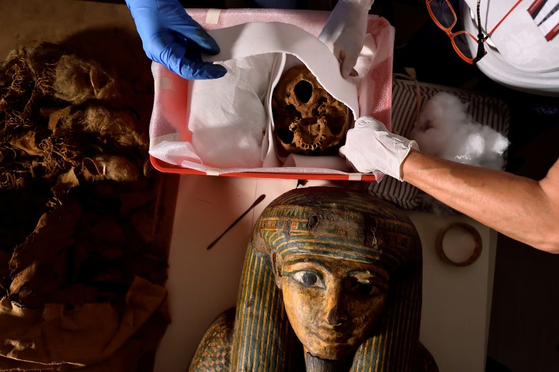 Researchers prepare to move an Egyptian mummy from the Civic Archaeological Museum of Bergamo to Milan's Policlinico hospital to undergo a CT scan in order to investigate its history, in Bergamo, Italy, June 21, 2021. Picture taken June 21, 2021. REUTERS/Flavio Lo Scalzo