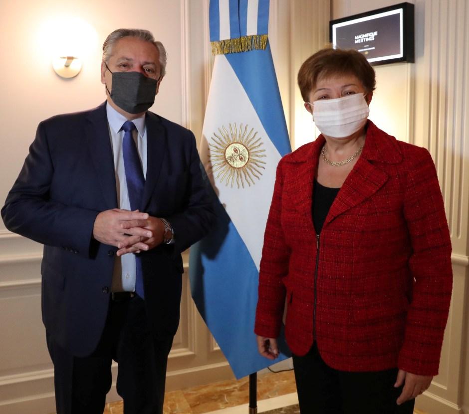 Argentina's President Alberto Fernandez poses next to International Monetary Fund (IMF) Managing Director Kristalina Georgieva, at the Sofitel hotel in Rome, Italy May 14, 2021. Argentine Presidency/Handout via REUTERS
