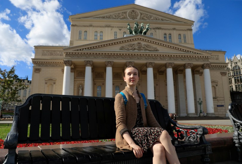 British ballerina Rachel Armstrong poses for a picture near the Bolshoi Theatre in Moscow, Russia May 24, 2021. Armstrong, 20, is among the few dancers from England to ever graduate from the renowned Bolshoi Ballet Academy, whose Russian and foreign graduates dance for ballet companies across the globe. REUTERS/Evgenia Novozhenina