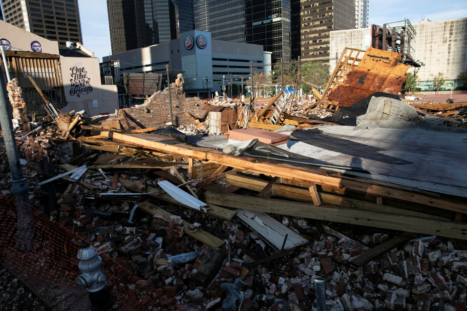 The remains of a destroyed building are seen after Hurricane Ida made landfall in Louisiana, U.S., August 31, 2021. REUTERS/Marco Bello