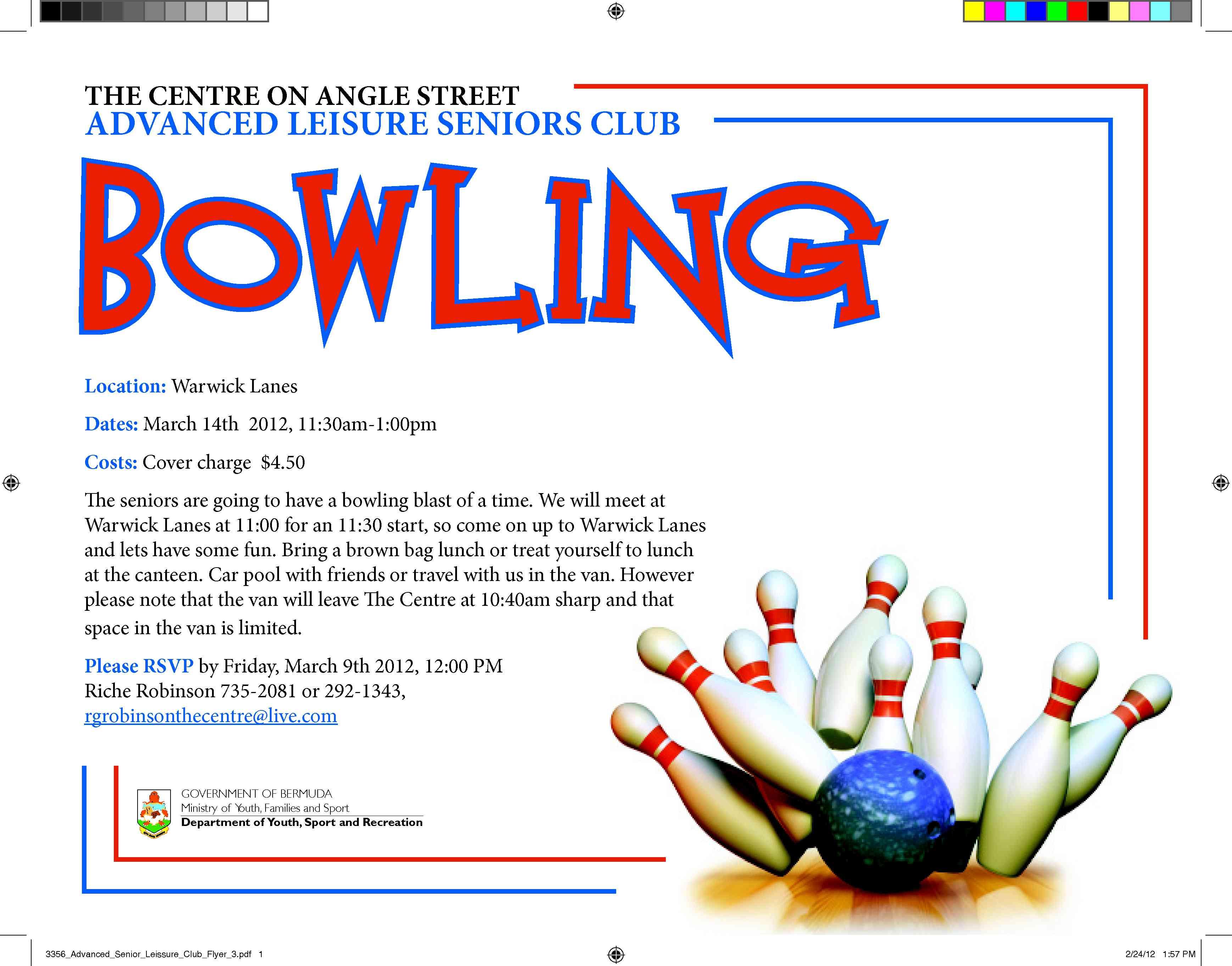 Upcoming Centre Seniors Club S Bowling