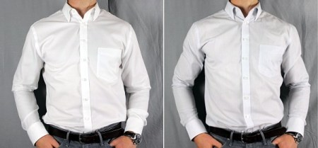Before   After Tailoring  Merona Ultimate Shirt Before and After White and Striped