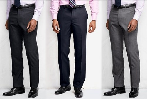 Flat Front Tailored Fit Wool Year 'rounder Dress Pants